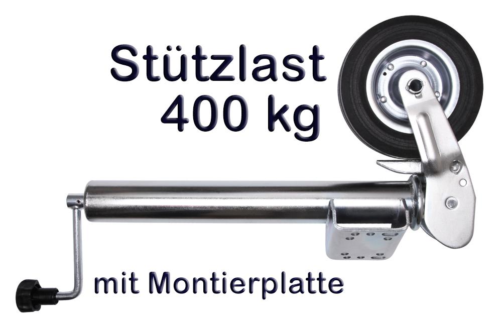 Anhänger Stützrad Automatik 60 mm klappbar Stahlfelge Stützlast 400 kg neu